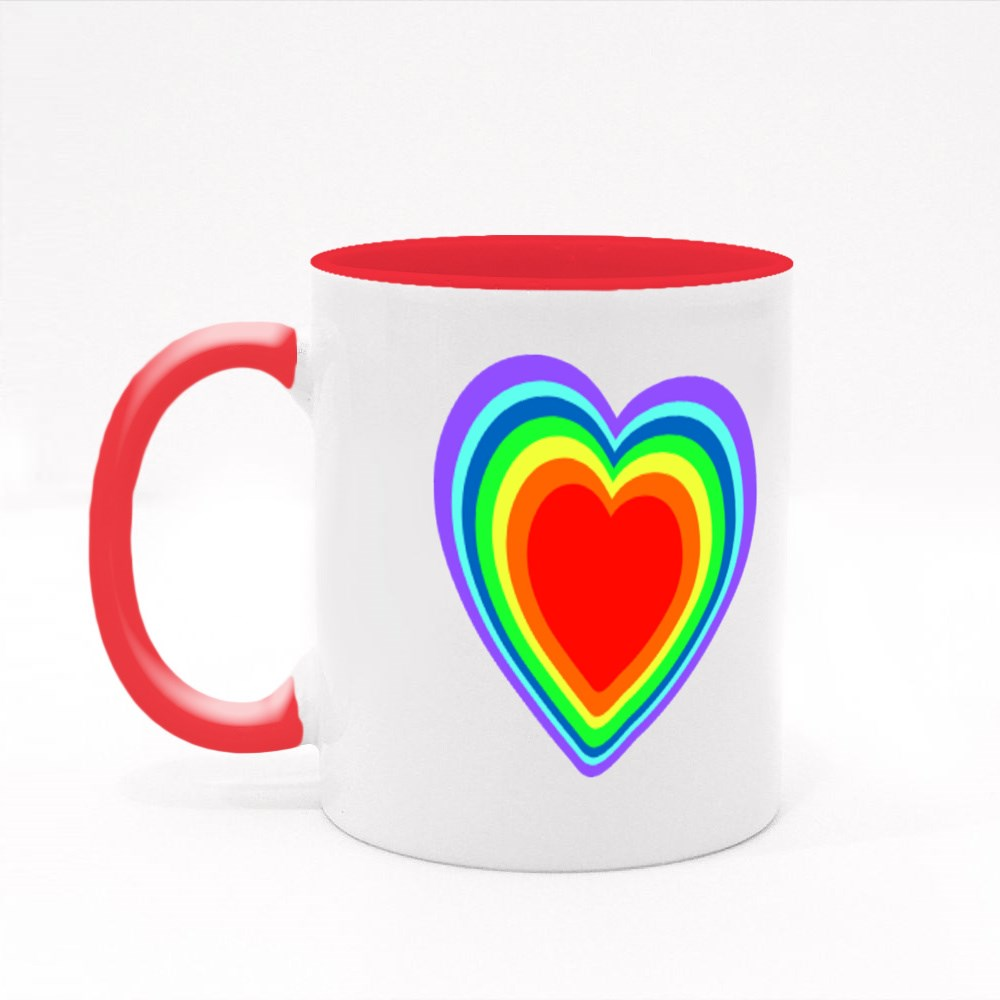 Rainbow Heart, Doodle Hand Drawing Style Colour Mugs