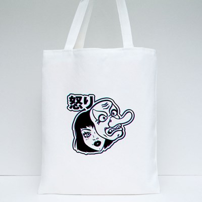 Girl With Mask and Hieroglyphs Rage. Tote Bags