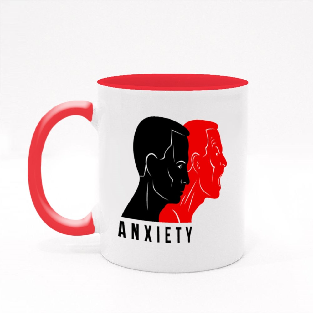 Anxiety Inner Conflict and Suspended Anger Mental Health Colour Mugs