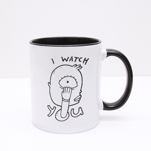 Strange Weird Suspicious Guy Pulls Lower Eyelid by His Hand Colour Mugs