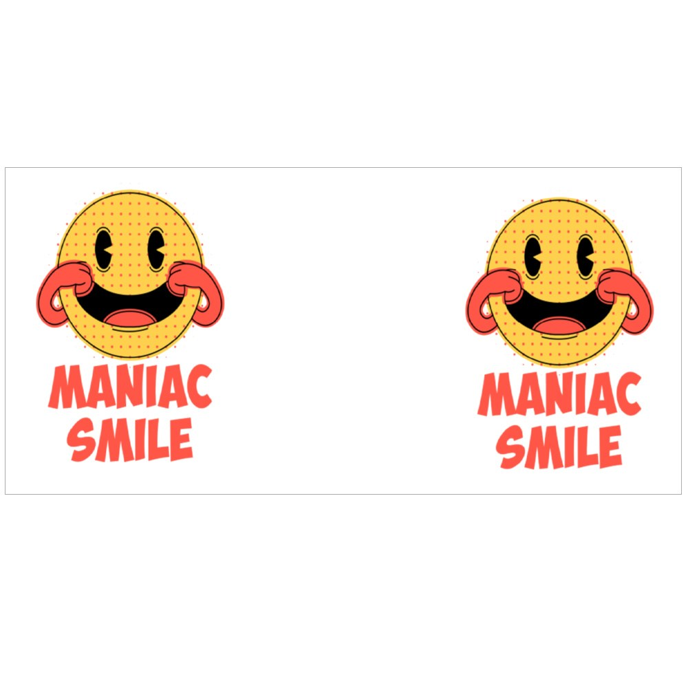 Maniac Smile. Prints on T-Shirts, Sweatshirts, Cases for Mobile Phones Colour Mugs