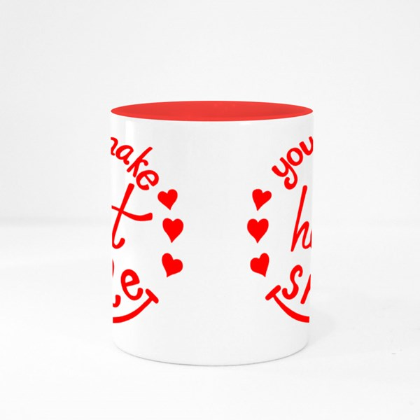 You Make My Heart Smile Lettering. Colour Mugs