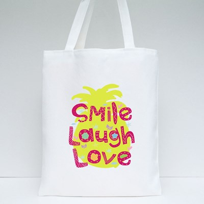Cute Typography Smile Laugh Love Tote Bags