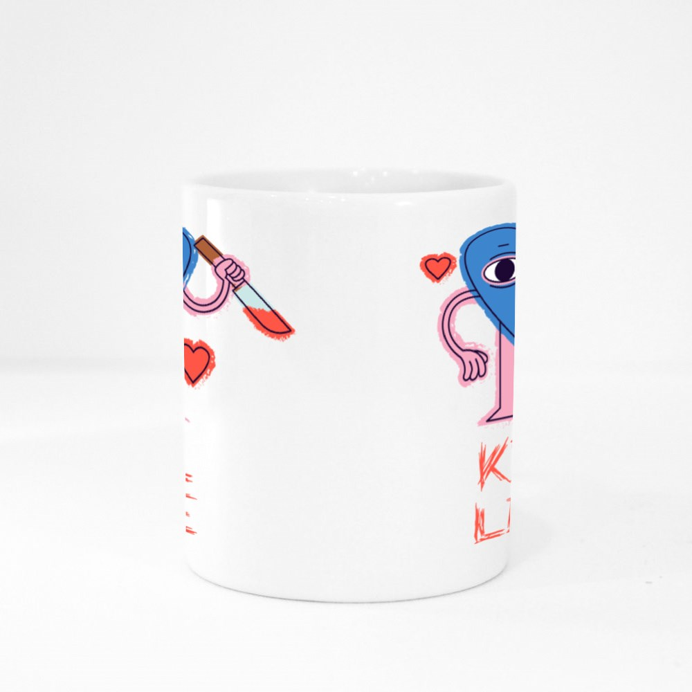Crazy Heart With Knife Colour Mugs
