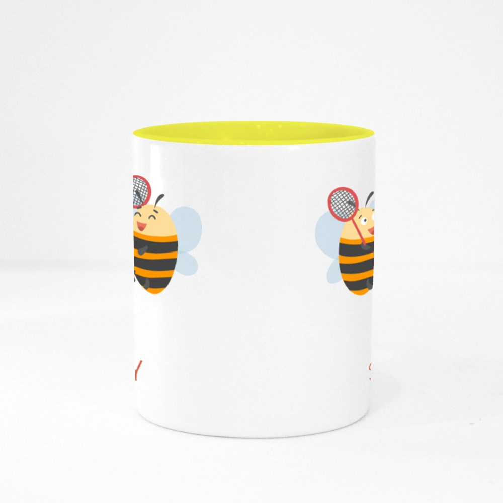 Happy Bees Are Playing Badminton. Colour Mugs