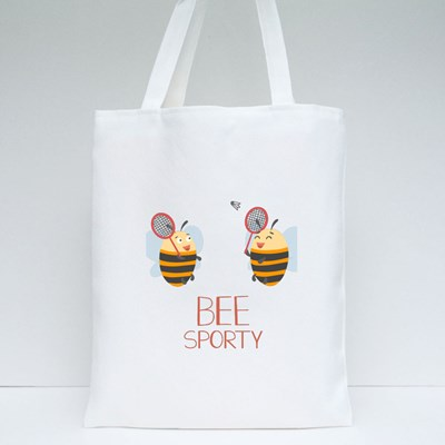 Happy Bees Are Playing Badminton. Tote Bags