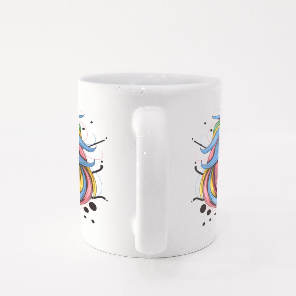 Unicorn With Colorful Hair With an Angry Face Colour Mugs