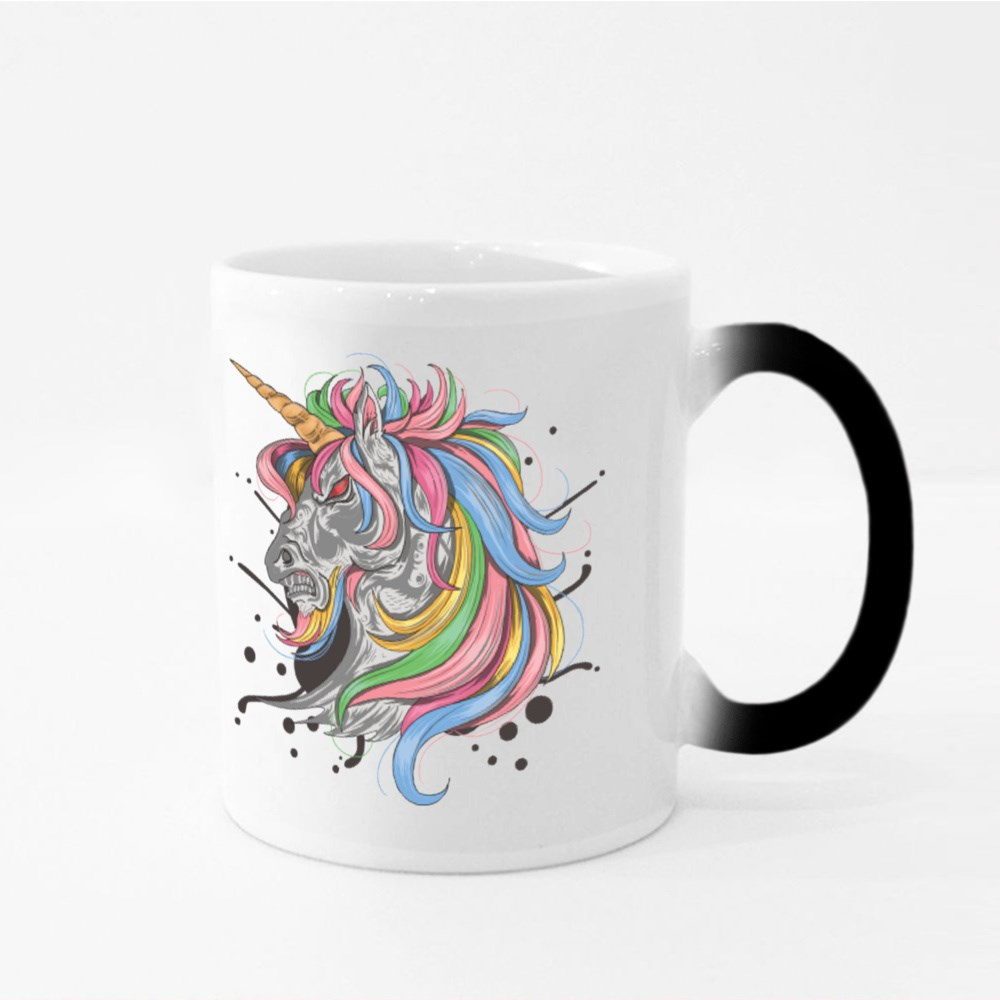 Unicorn With Colorful Hair With an Angry Face Magic Mugs
