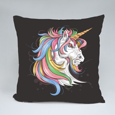 Unicorn With Colorful Hair With an Angry Face Throw Pillows