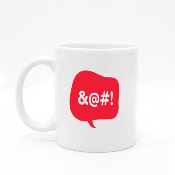 Red Talk Bubble With Censored Text Colour Mugs