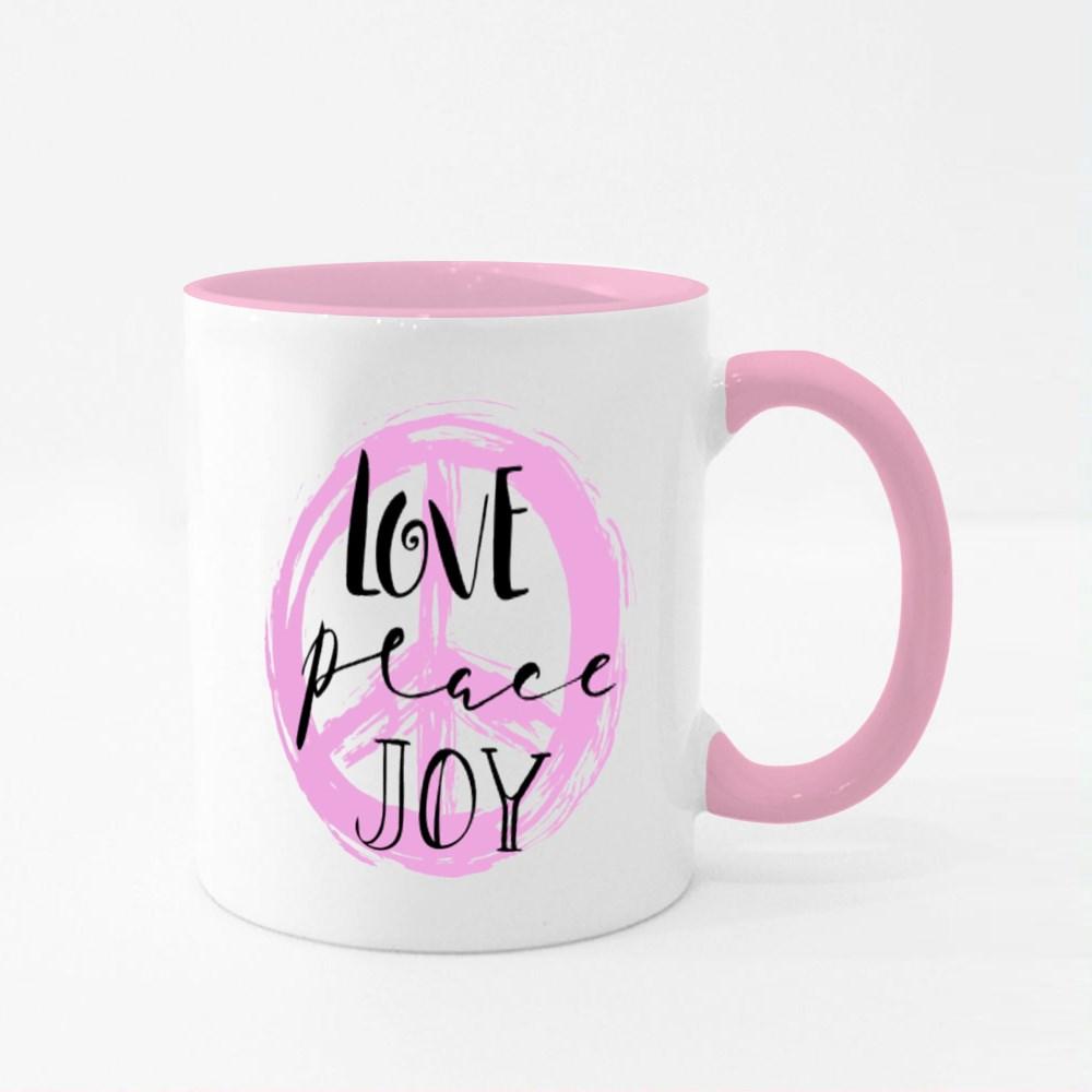 Love, Peace, Joy Quotes,Text Colour Mugs