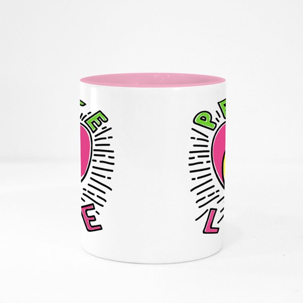 Peace Pin up and T Shirt Design Colour Mugs