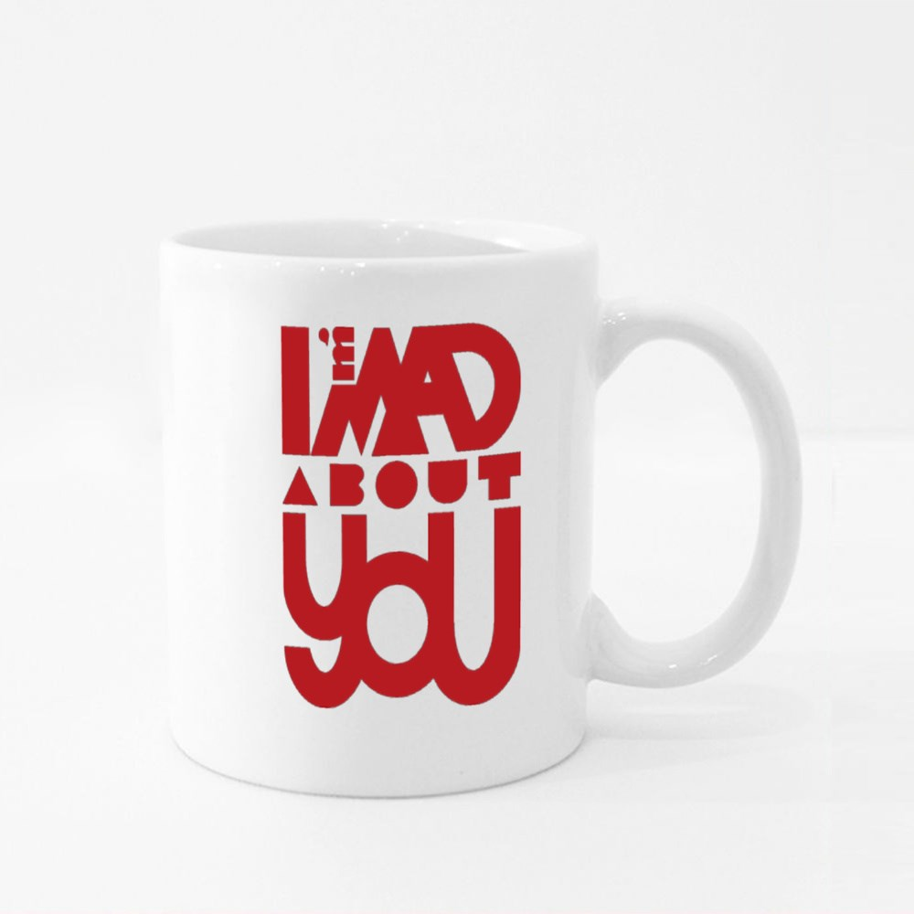 I'm Mad About You in Red and Black Colour Mugs