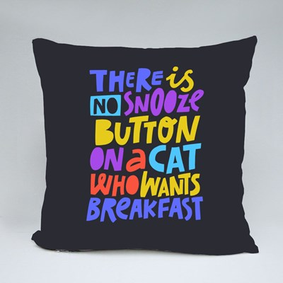 There Is No Snooze Button on a Cat Who Wants Breakfast Throw Pillows