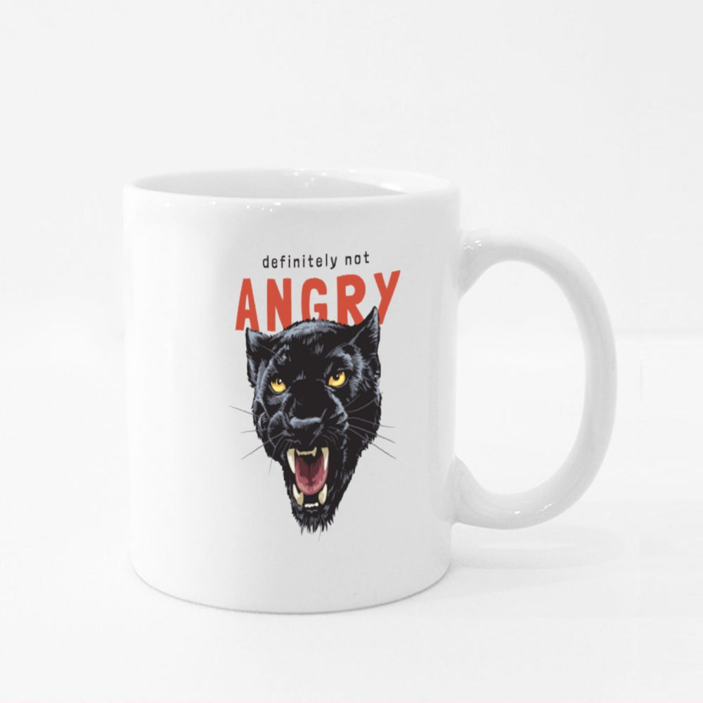 Angry Slogan With Panther Head Colour Mugs