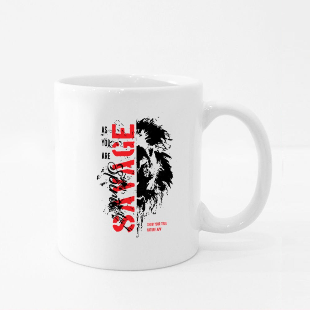Savage Slogan With Lion Face Colour Mugs