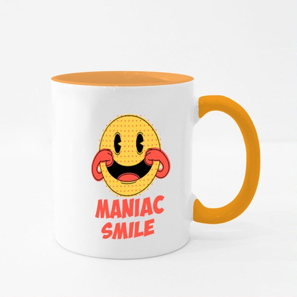 Maniac Smile Prints on T-Shirts Colour Mugs