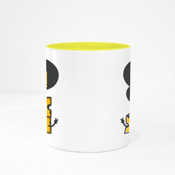 Unique and Trendy Say Cheese! or Mockup. Colour Mugs