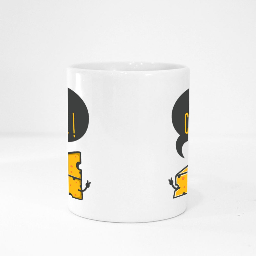Unique and Trendy Say Cheese! or Mockup. Magic Mugs