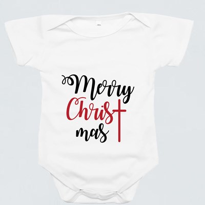 Merry Christmas Lettering Baby Rompers<br />(Short Sleeve)