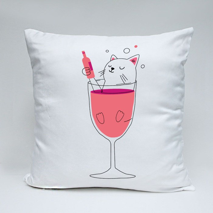 Cat in Wine Throw Pillows