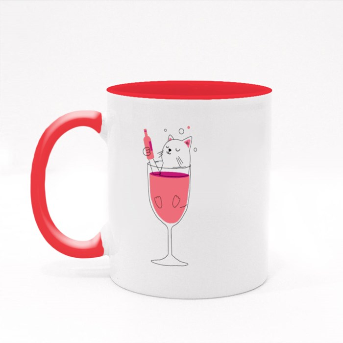 Cat in Wine Colour Mugs