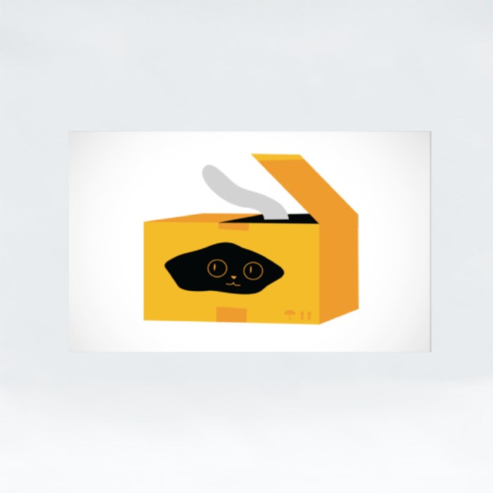 Cute Cat in Small Box Stickers (Rectangle)