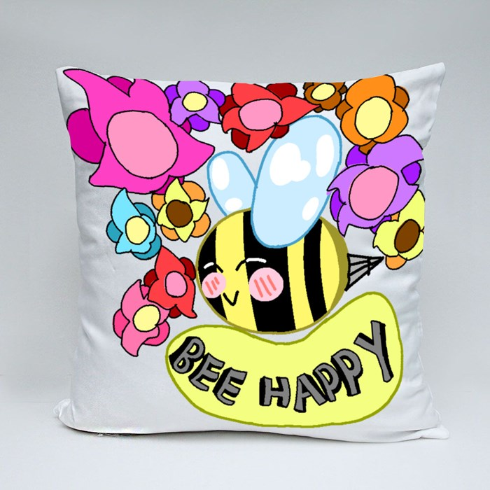 Bee Happy 01 Throw Pillows