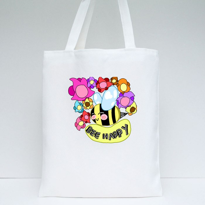 Bee Happy 01 Tote Bags