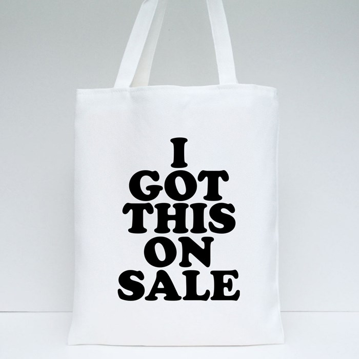 I Got This on Sale 01 Black Tote Bags