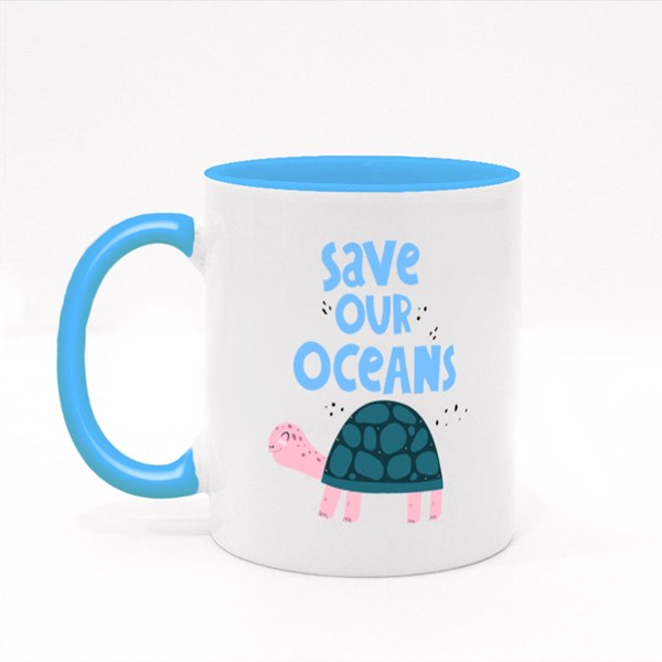 Save Our Oceans. Cartoon Turtle Colour Mugs