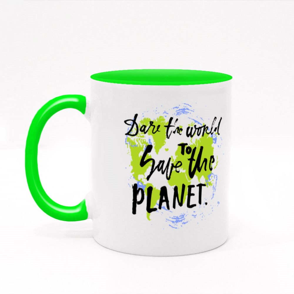 Dare the World to Save the Planet. Colour Mugs