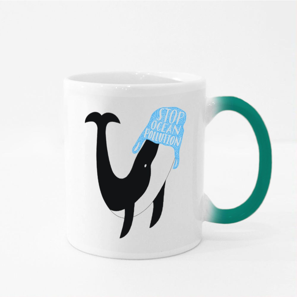 Stop Ocean Pollution Lettering Text Magic Mugs