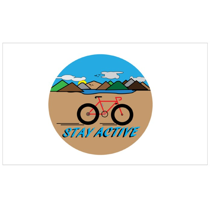 Stay Active With Countryside Landscape. Sport Flasks