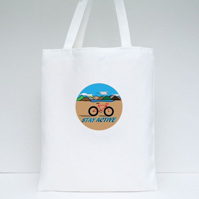 Stay Active With Countryside Landscape. Tote Bags