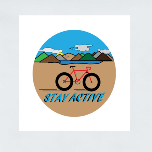 Stay Active With Countryside Landscape. Stickers (Square)