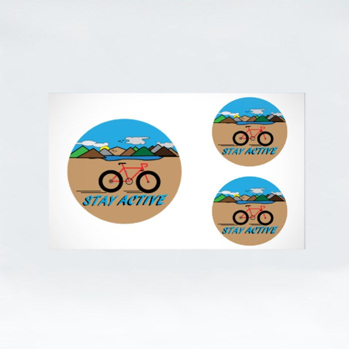 Stay Active With Countryside Landscape. Stickers (Rectangle)