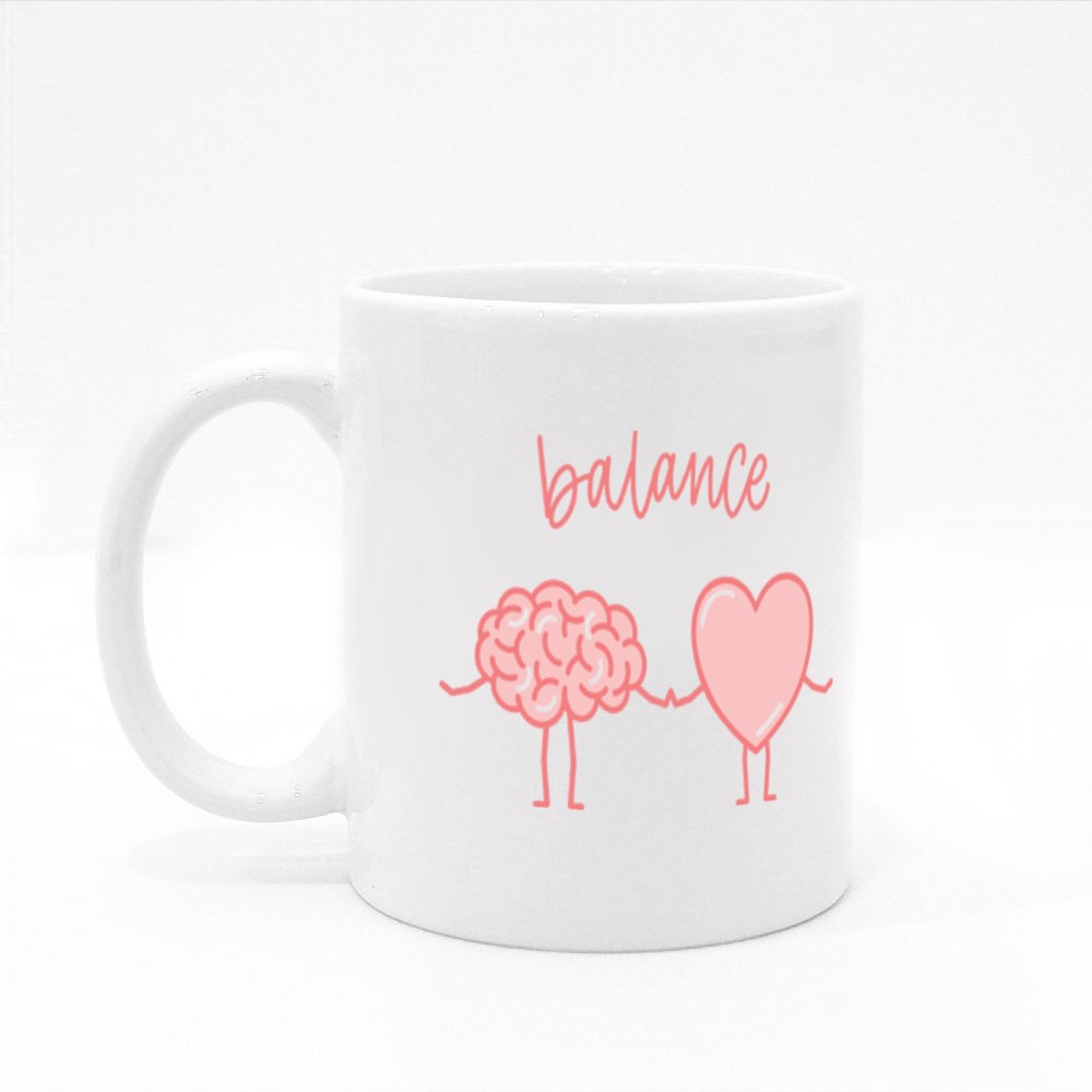 Cute Pink Brain and Heart Holding Hands Colour Mugs