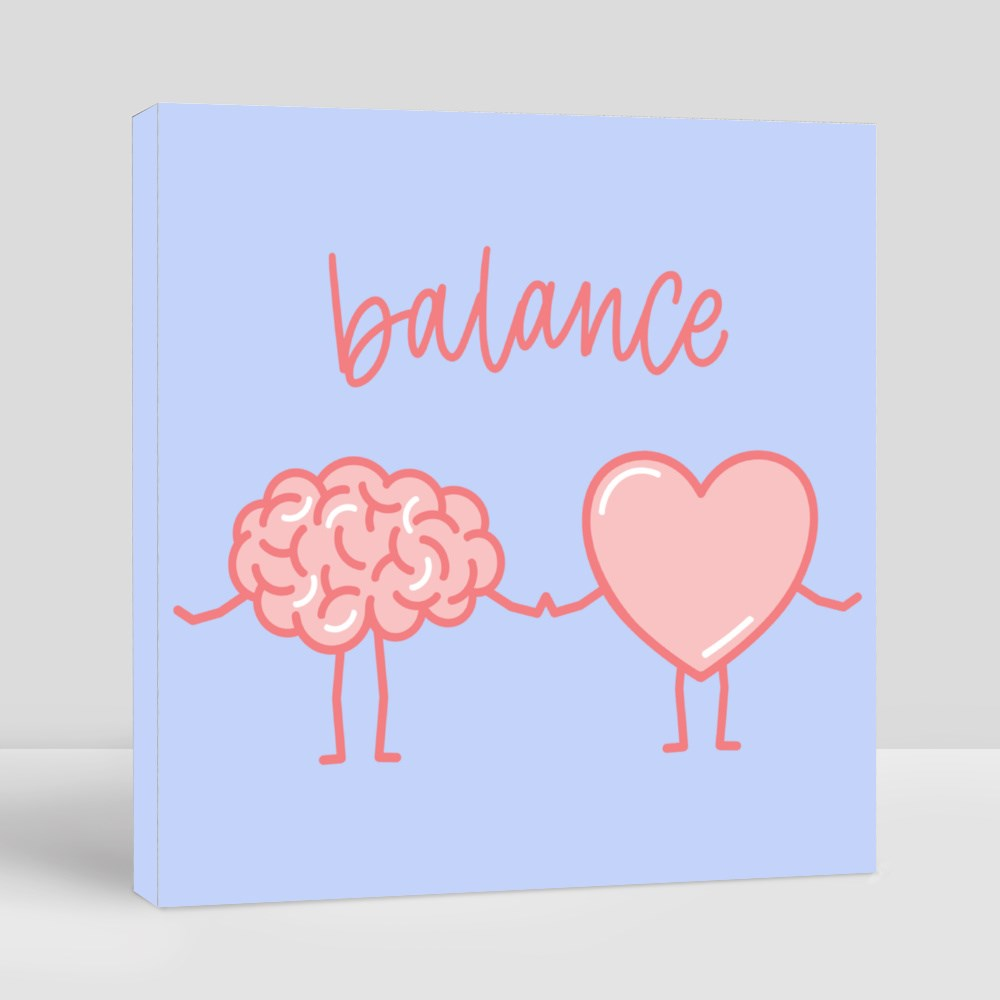 Cute Pink Brain and Heart Holding Hands Canvas (Square)