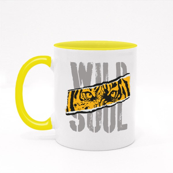 Tiger. Wild  Roar Tiger. College Typography Graphic. Colour Mugs
