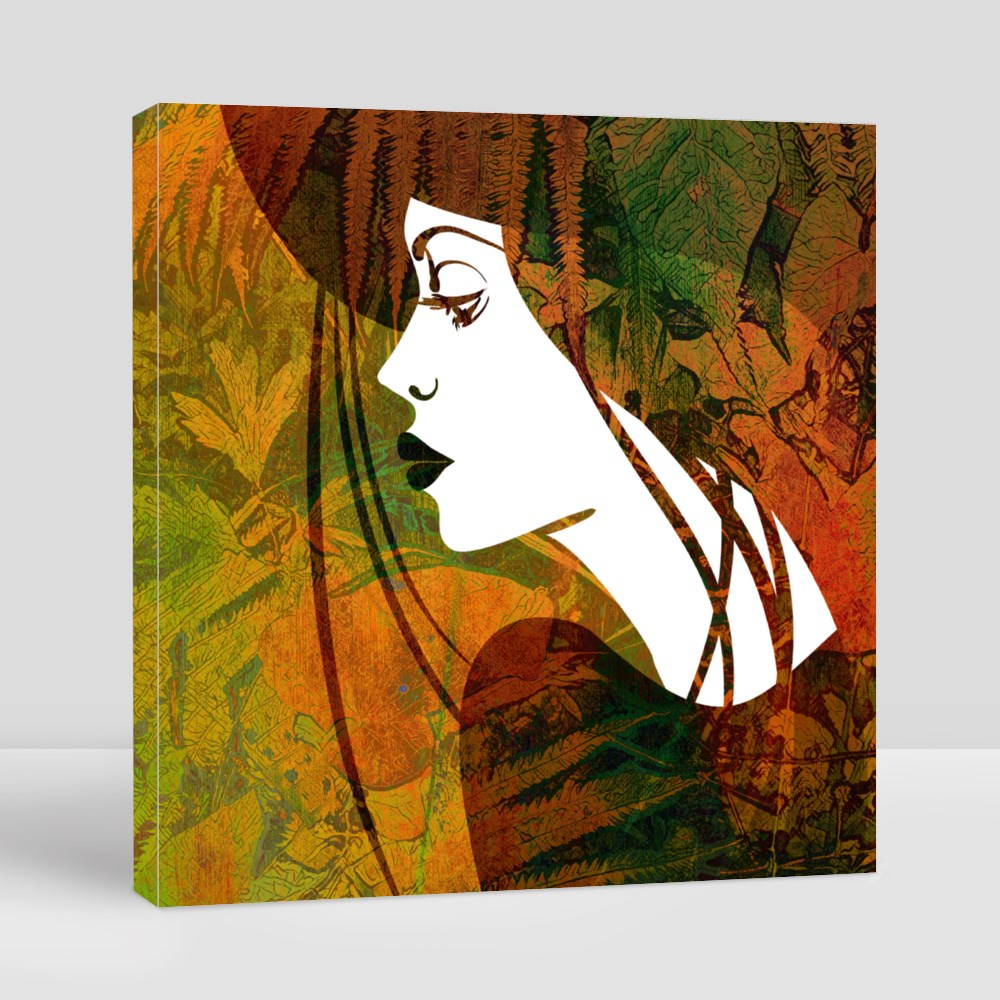 Beautiful Girl Face in Profile With Hat Canvas (Square)