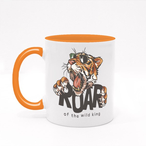 Roar Slogan With Tiger Head in Sunglasses, Illustration Colour Mugs