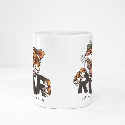 Roar Slogan With Tiger Head in Sunglasses, Illustration Magic Mugs