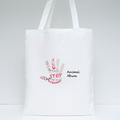 Stop Animal Abuse Hand Gesture Tote Bags