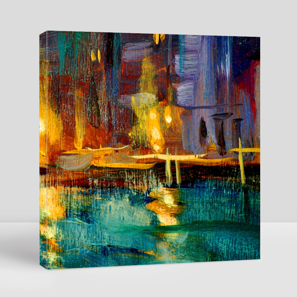 Night Landscape to Venice, Painting by Oil on a Canvas Canvas (Square)