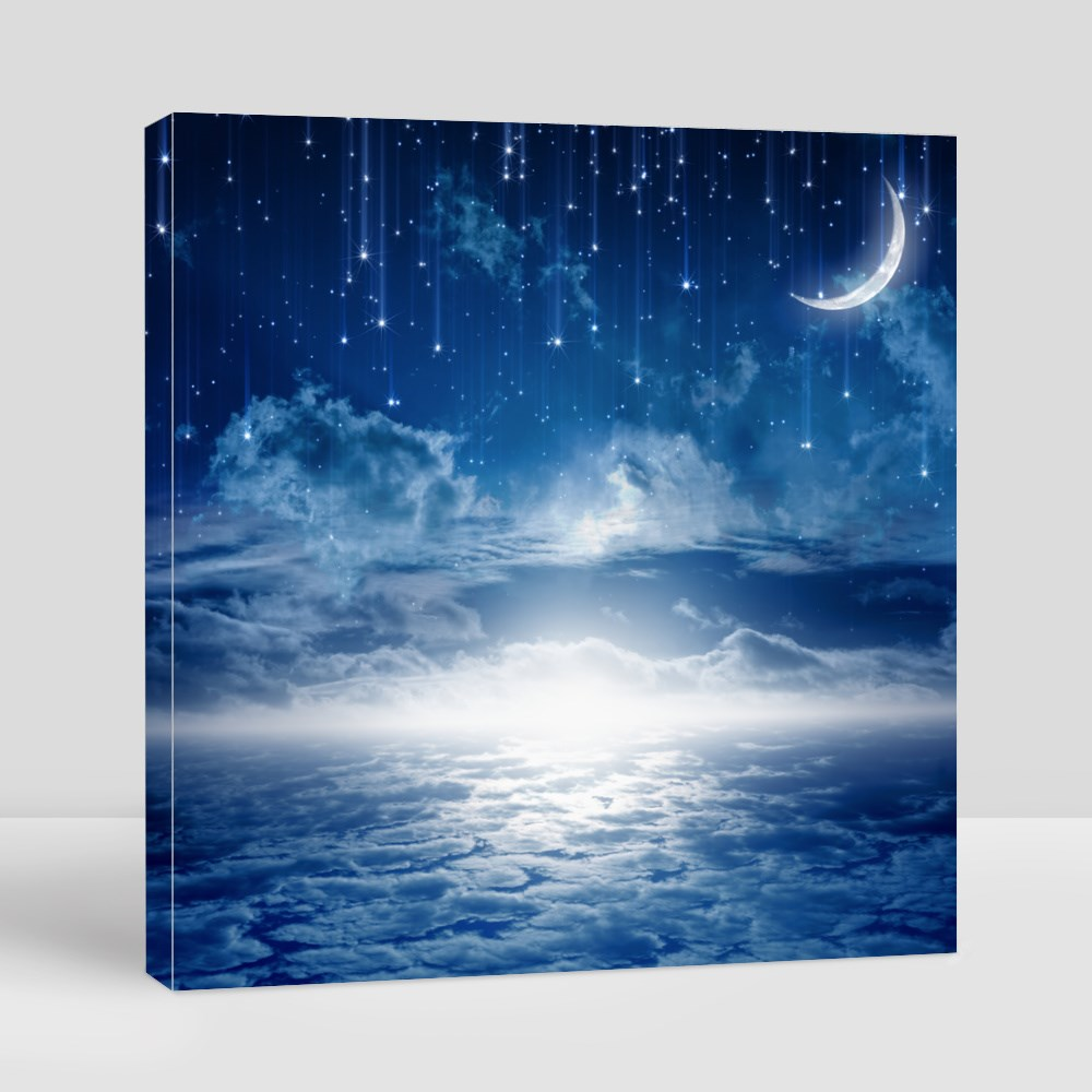 Peaceful Background, Blue Night Sky With Moon Toile (Carrée)