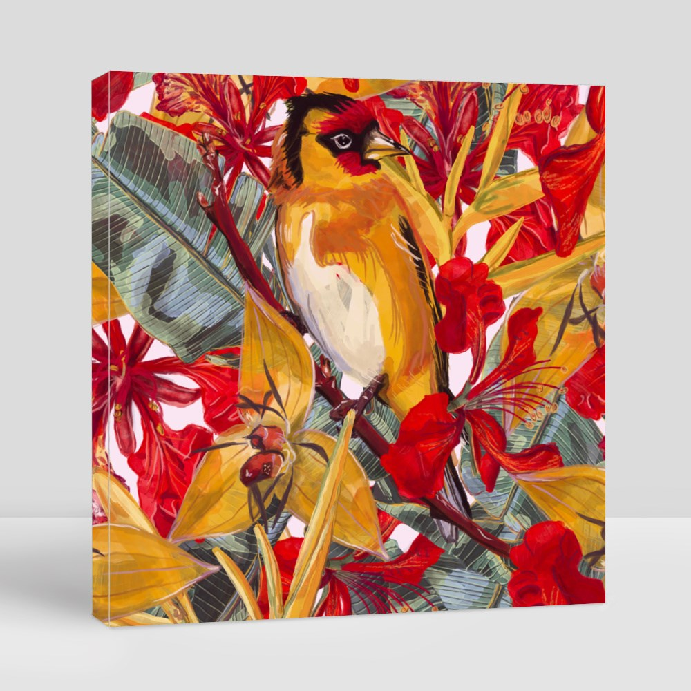 Red and Yellow Tropical Flowers and Bird Seamless Pattern Canvas (Square)