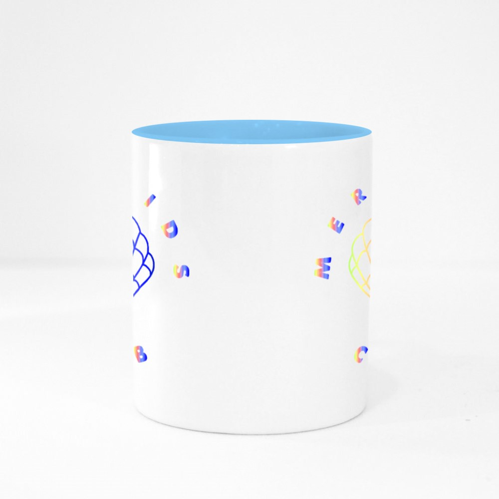 Mermaid Graphic Print With Texts on It in Multicolor. Colour Mugs