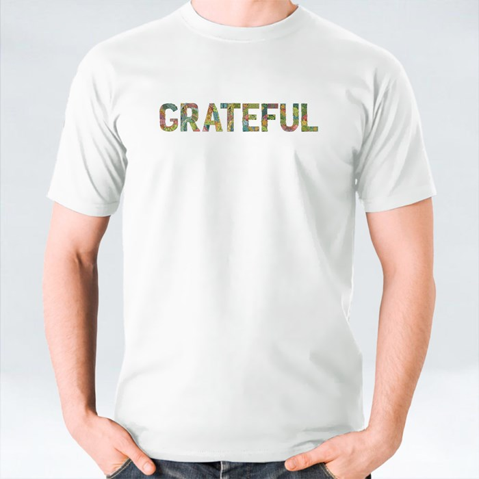 Grateful Wording With Falling Leaves T-Shirts