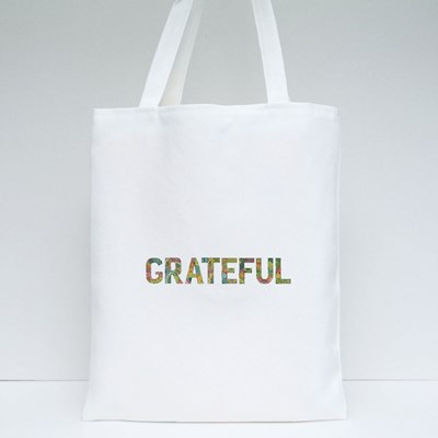 Grateful Wording With Falling Leaves Tote Bags